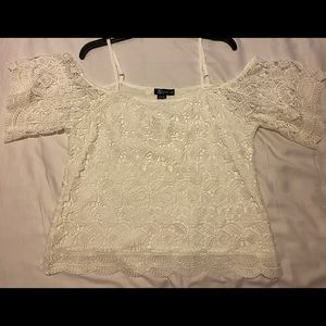 White Embroidery Cold Shoulder Blouse